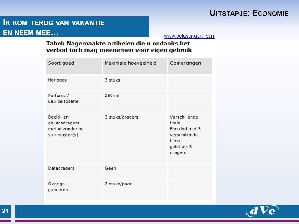 21 I K KOM TERUG VAN VAKANTIE EN NEEM MEE … www.belastingdienst.nl U ITSTAPJE : E CONOMIE