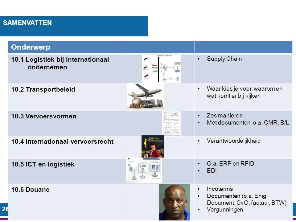 26 SAMENVATTEN Onderwerp 10.1 Logistiek bij internationaal ondernemen Supply Chain 10.2 Transportbeleid Waar kies je voor, waarom en wat komt er bij kijken 10.3 Vervoersvormen Zes manieren Met documenten: o.a.