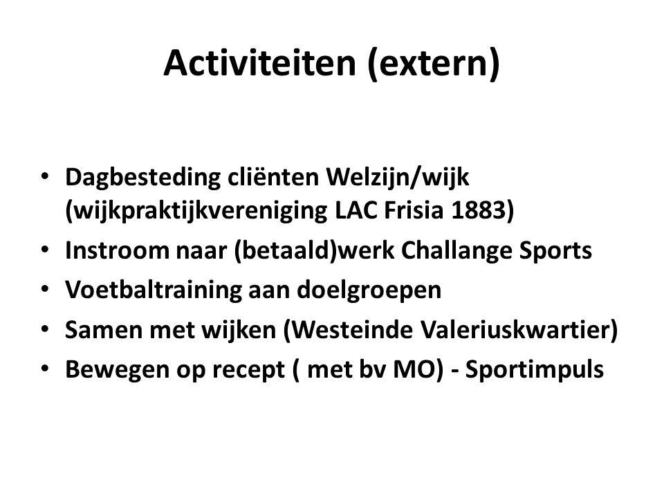 Activiteiten (extern) Dagbesteding cliënten Welzijn/wijk (wijkpraktijkvereniging LAC Frisia 1883) Instroom naar (betaald)werk Challange Sports Voetbal