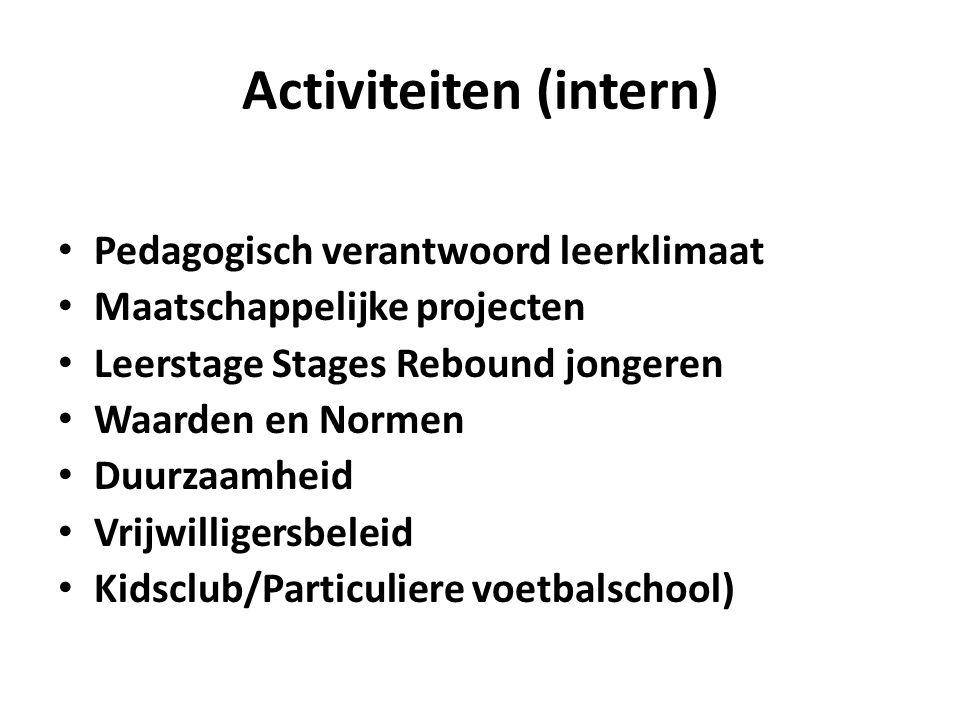 Activiteiten (intern) Pedagogisch verantwoord leerklimaat Maatschappelijke projecten Leerstage Stages Rebound jongeren Waarden en Normen Duurzaamheid Vrijwilligersbeleid Kidsclub/Particuliere voetbalschool)