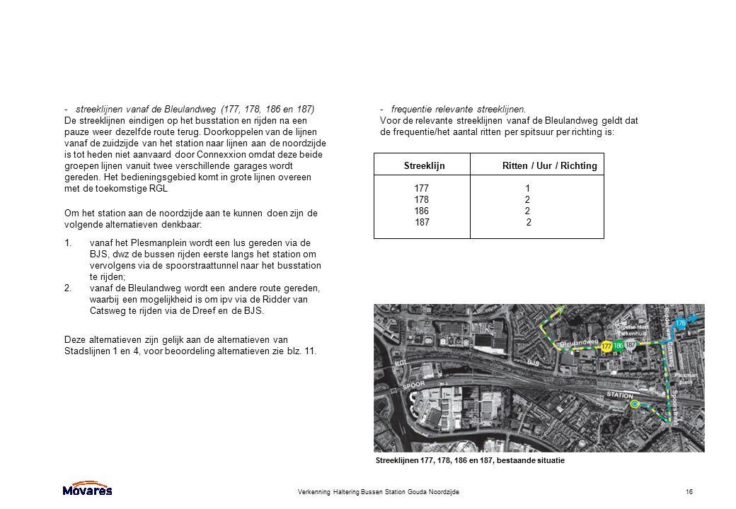 Verkenning Haltering Bussen Station Gouda Noordzijde16 - streeklijnen vanaf de Bleulandweg (177, 178, 186 en 187) De streeklijnen eindigen op het buss