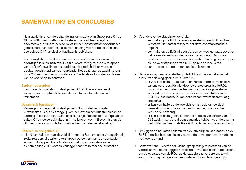 SAMENVATTING EN CONCLUSIES Naar aanleiding van de behandeling van masterplan Spoorzone C1 op 18 juni 2008 heeft wethouder Kastelein de raad toegezegd