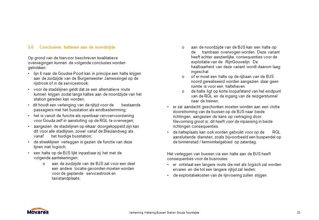 Verkenning Haltering Bussen Station Gouda Noordzijde23 5.6Conclusies: halteren aan de noordzijde Op grond van de hiervoor beschreven kwalitatieve over