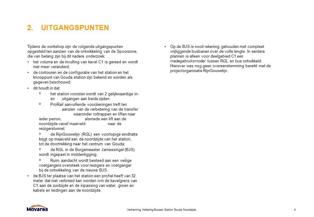 Verkenning Haltering Bussen Station Gouda Noordzijde4 2. UITGANGSPUNTEN Tijdens de workshop zijn de volgende uitgangspunten opgesteld ten aanzien van