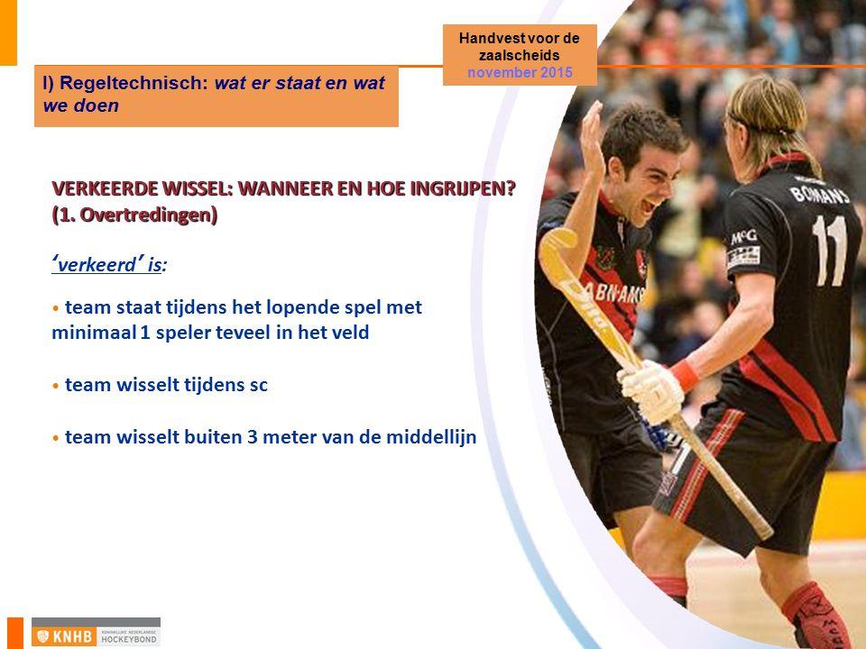 VERKEERDE WISSEL: WANNEER EN HOE INGRIJPEN? (1. Overtredingen) 'verkeerd' is: team staat tijdens het lopende spel met minimaal 1 speler teveel in het