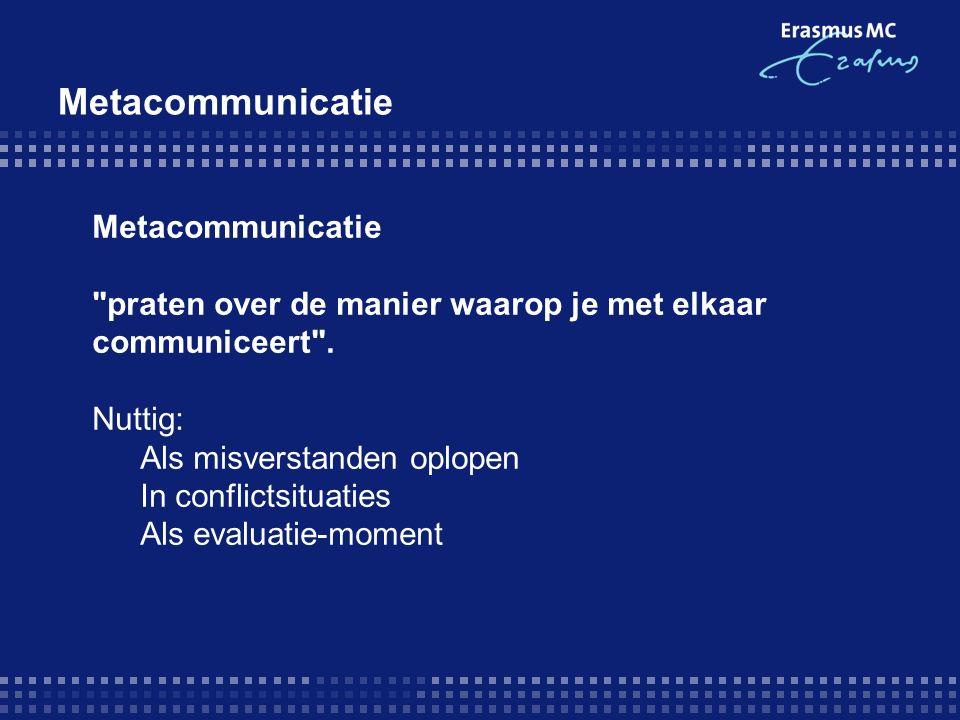 Metacommunicatie praten over de manier waarop je met elkaar communiceert .
