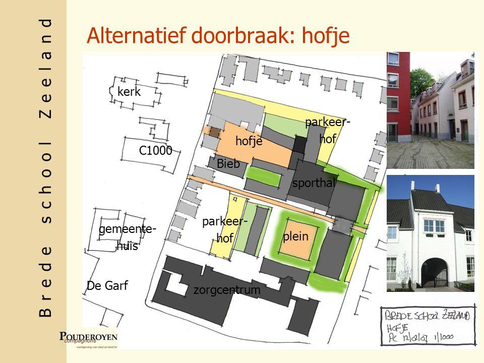 Brede school Zeeland Alternatief doorbraak: hofje C1000 gemeente- huis kerk De Garf sporthal zorgcentrum Bieb hofje plein parkeer- hof parkeer- hof