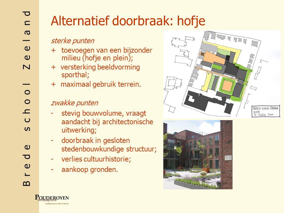 Brede school Zeeland Alternatief doorbraak: hofje sterke punten +toevoegen van een bijzonder milieu (hofje en plein); + versterking beeldvorming sporthal; + maximaal gebruik terrein.