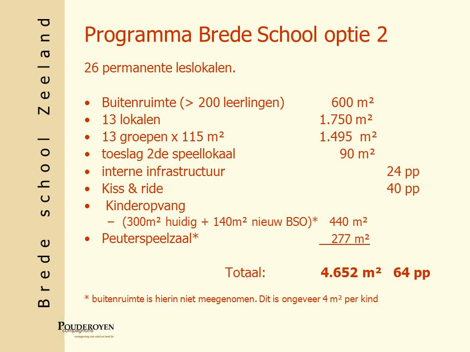 Brede school Zeeland Programma Brede School optie 2 26 permanente leslokalen.