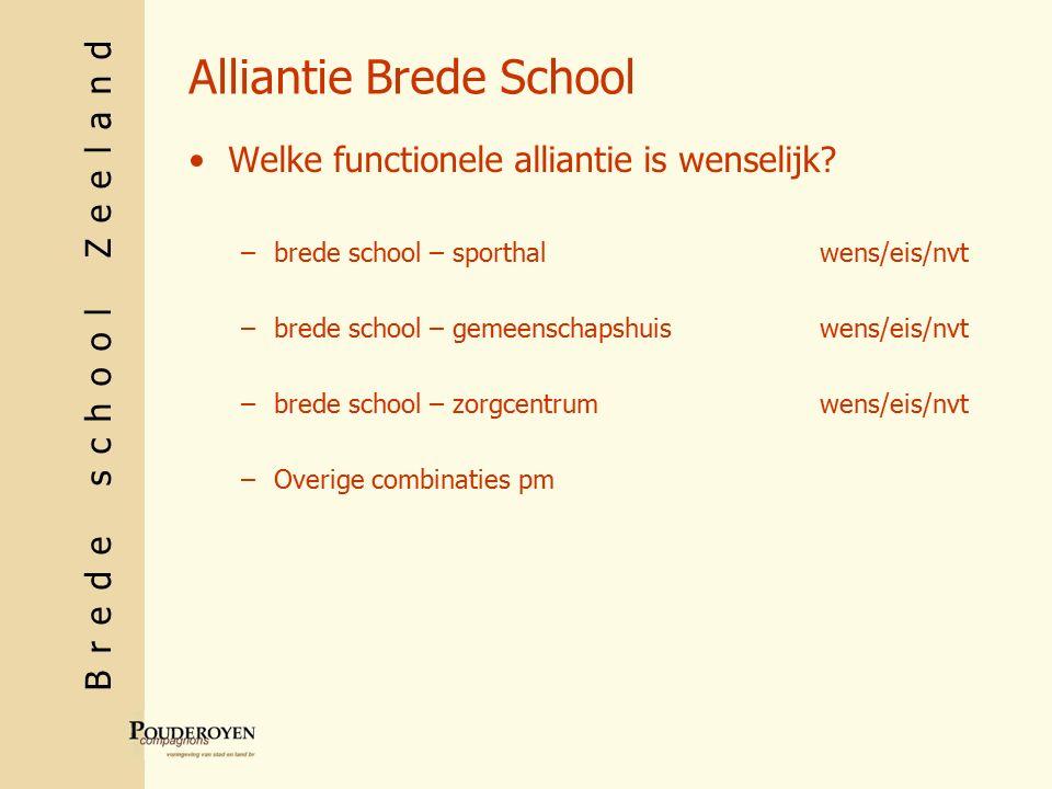 Brede school Zeeland Alliantie Brede School Welke functionele alliantie is wenselijk.