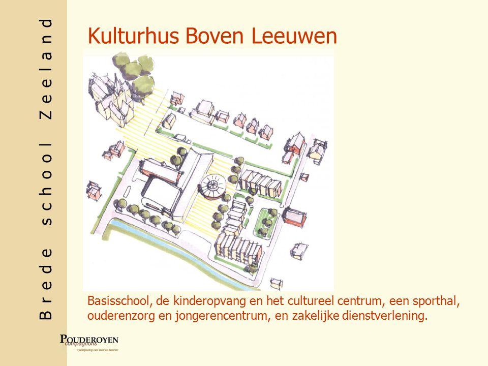 Brede school Zeeland Kulturhus Boven Leeuwen Basisschool, de kinderopvang en het cultureel centrum, een sporthal, ouderenzorg en jongerencentrum, en zakelijke dienstverlening.