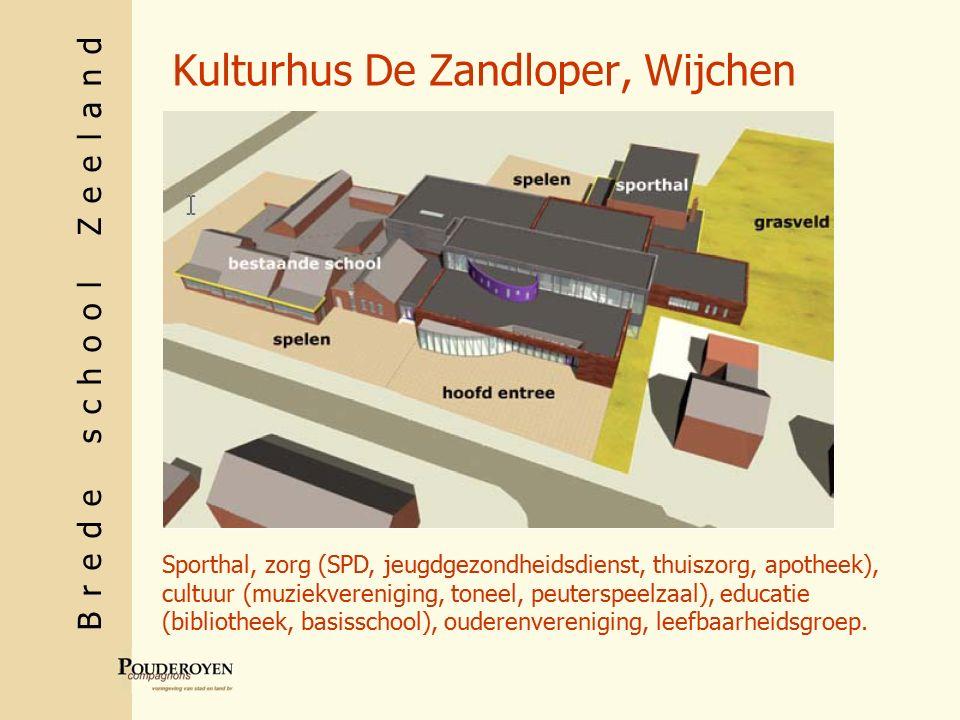 Brede school Zeeland Kulturhus De Zandloper, Wijchen Sporthal, zorg (SPD, jeugdgezondheidsdienst, thuiszorg, apotheek), cultuur (muziekvereniging, toneel, peuterspeelzaal), educatie (bibliotheek, basisschool), ouderenvereniging, leefbaarheidsgroep.