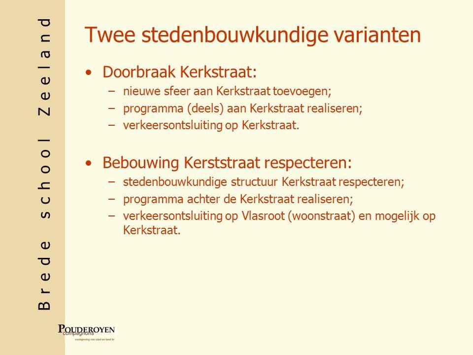 Brede school Zeeland Twee stedenbouwkundige varianten Doorbraak Kerkstraat: –nieuwe sfeer aan Kerkstraat toevoegen; –programma (deels) aan Kerkstraat realiseren; –verkeersontsluiting op Kerkstraat.