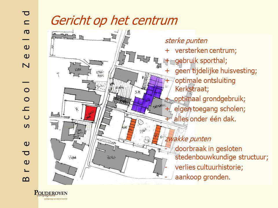 Brede school Zeeland Gericht op het centrum sterke punten +versterken centrum; +gebruik sporthal; +geen tijdelijke huisvesting; + optimale ontsluiting Kerkstraat; + optimaal grondgebruik; + eigen toegang scholen; + alles onder één dak.