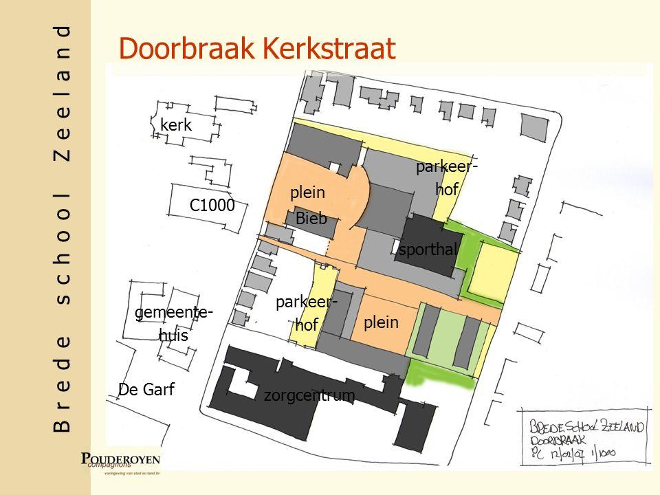 Brede school Zeeland Doorbraak Kerkstraat C1000 gemeente- huis kerk De Garf sporthal zorgcentrum Bieb plein parkeer- hof parkeer- hof