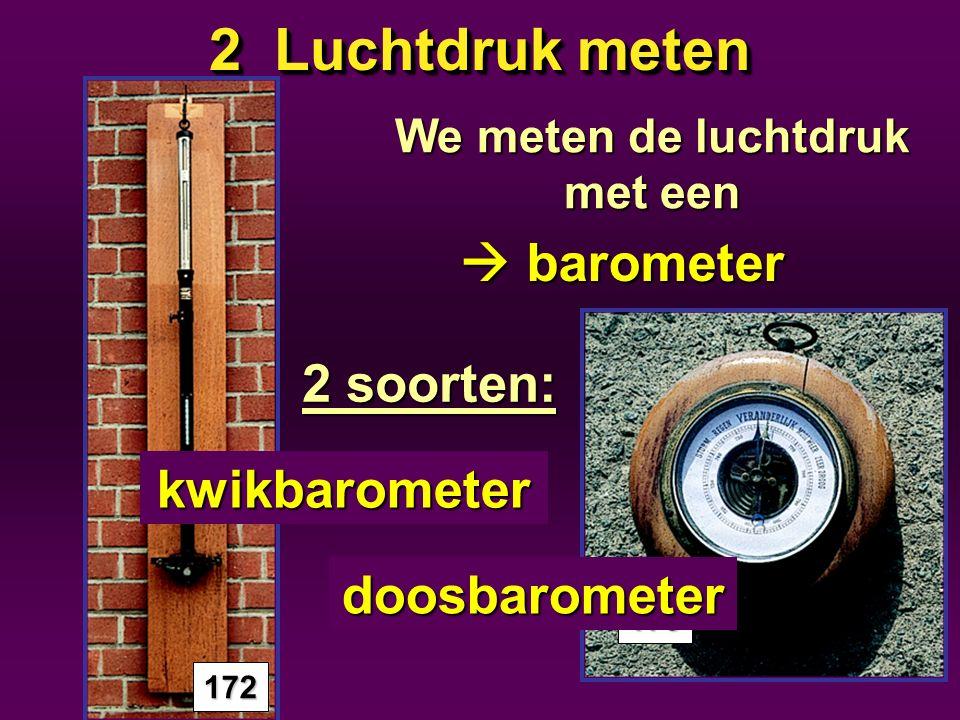 2 Luchtdruk meten Normale luchtdruk 1013hPa(hectopascal) Hoge luchtdruk > 1013hPa Lage luchtdruk <1013hPa 1009hPa