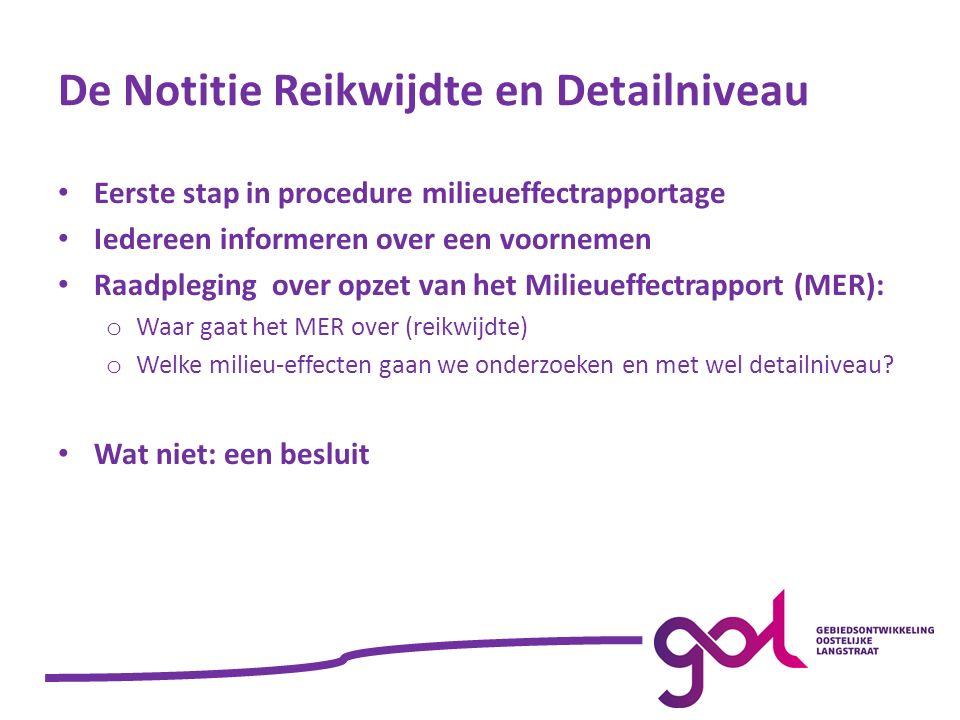 Welke effecten heeft GOL op het milieu Referentiesituatie Effecten van GOL worden berekend en beschreven (peiljaar 2026) Effecten van GOL worden vergeleken met situatie zonder GOL (ook 2026) Situatie met vastgestelde plannen Doorkijk naar situatie met daarnaast ook gewenste ontwikkelingen (2026)