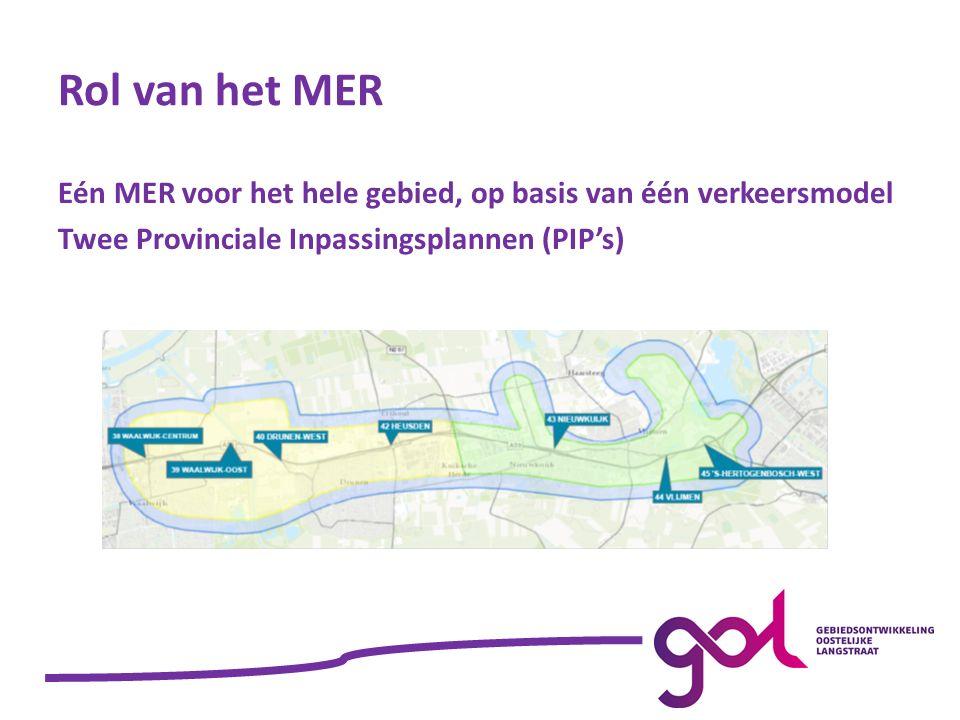 Rol van het MER Eén MER voor het hele gebied, op basis van één verkeersmodel Twee Provinciale Inpassingsplannen (PIP's)