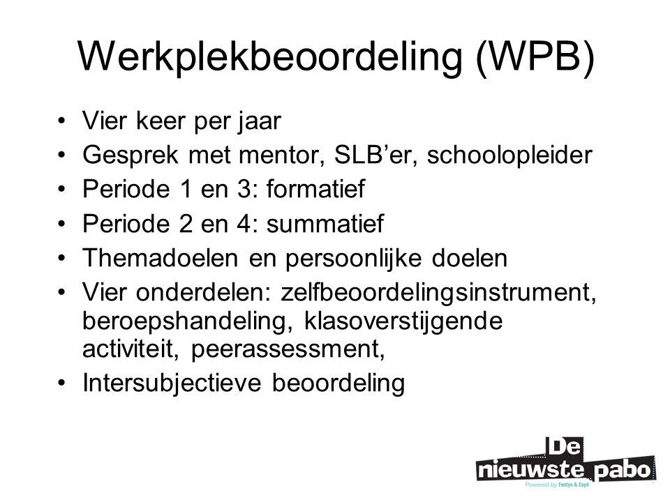 Werkplekbeoordeling (WPB) Vier keer per jaar Gesprek met mentor, SLB'er, schoolopleider Periode 1 en 3: formatief Periode 2 en 4: summatief Themadoelen en persoonlijke doelen Vier onderdelen: zelfbeoordelingsinstrument, beroepshandeling, klasoverstijgende activiteit, peerassessment, Intersubjectieve beoordeling