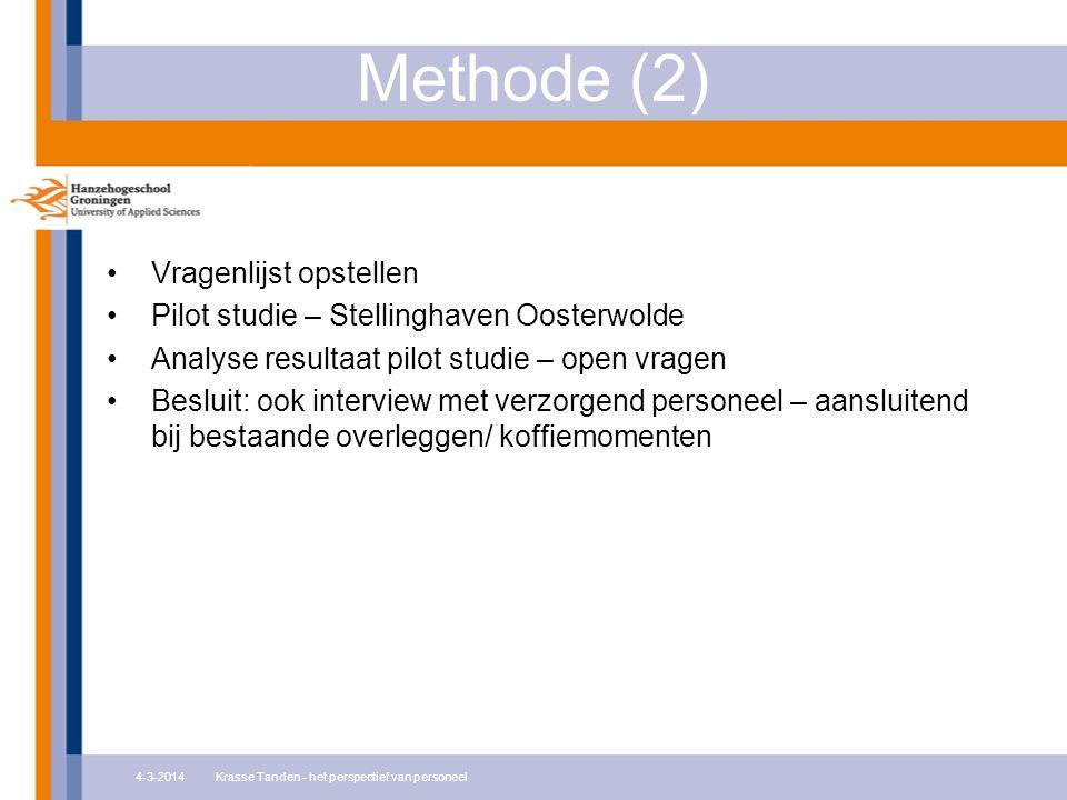 Methode (2) Vragenlijst opstellen Pilot studie – Stellinghaven Oosterwolde Analyse resultaat pilot studie – open vragen Besluit: ook interview met ver