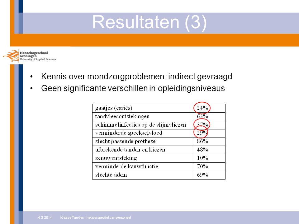 Resultaten (3) Kennis over mondzorgproblemen: indirect gevraagd Geen significante verschillen in opleidingsniveaus 4-3-2014Krasse Tanden - het perspectief van personeel