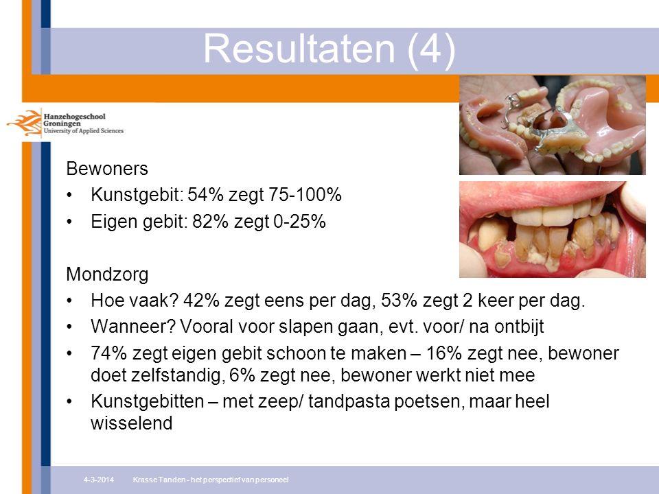 Resultaten (4) Bewoners Kunstgebit: 54% zegt 75-100% Eigen gebit: 82% zegt 0-25% Mondzorg Hoe vaak? 42% zegt eens per dag, 53% zegt 2 keer per dag. Wa