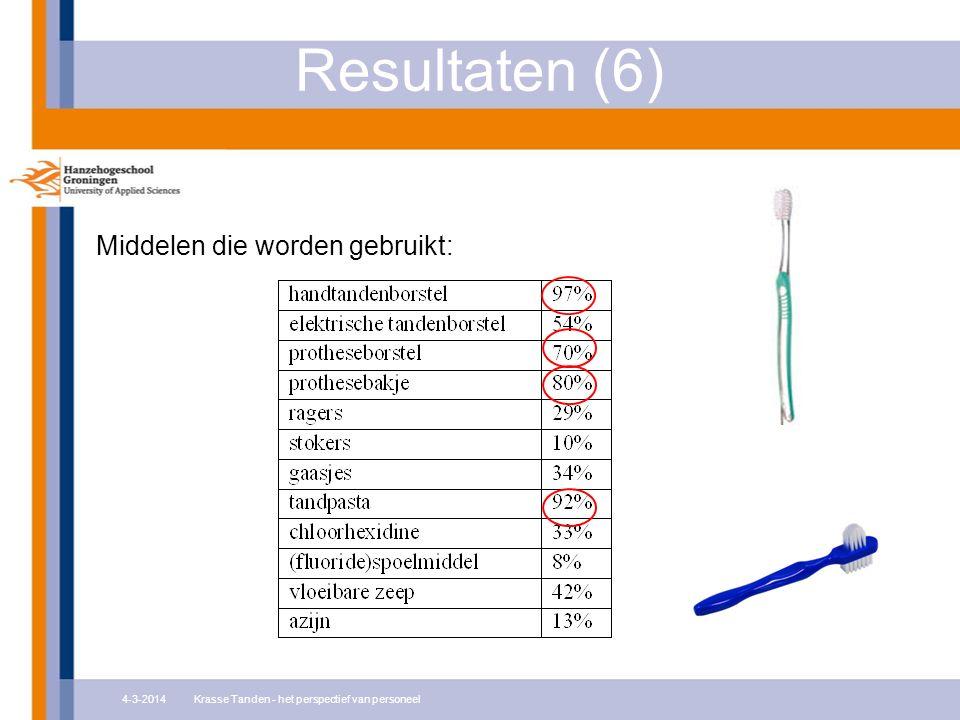Resultaten (6) Middelen die worden gebruikt: 4-3-2014Krasse Tanden - het perspectief van personeel