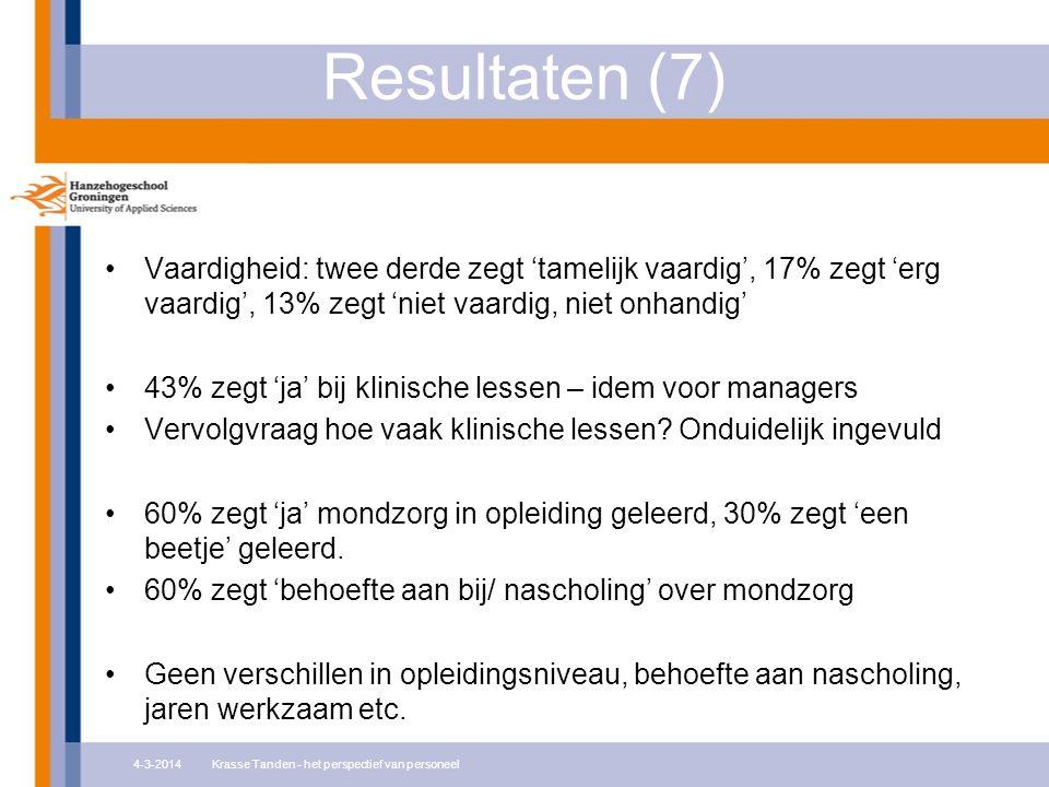Resultaten (7) Vaardigheid: twee derde zegt 'tamelijk vaardig', 17% zegt 'erg vaardig', 13% zegt 'niet vaardig, niet onhandig' 43% zegt 'ja' bij klinische lessen – idem voor managers Vervolgvraag hoe vaak klinische lessen.