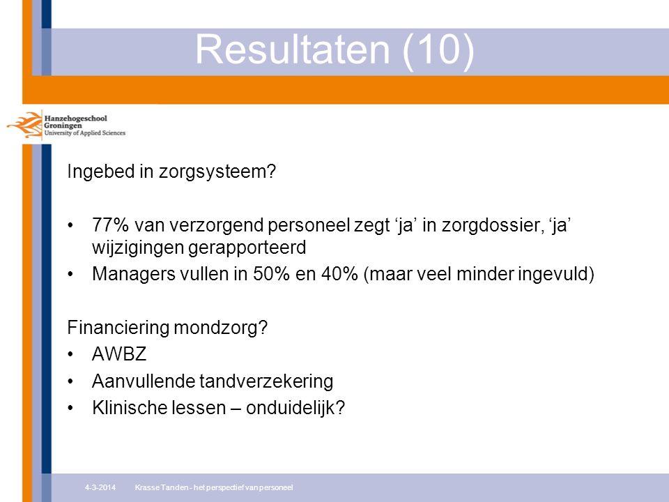Resultaten (10) Ingebed in zorgsysteem.