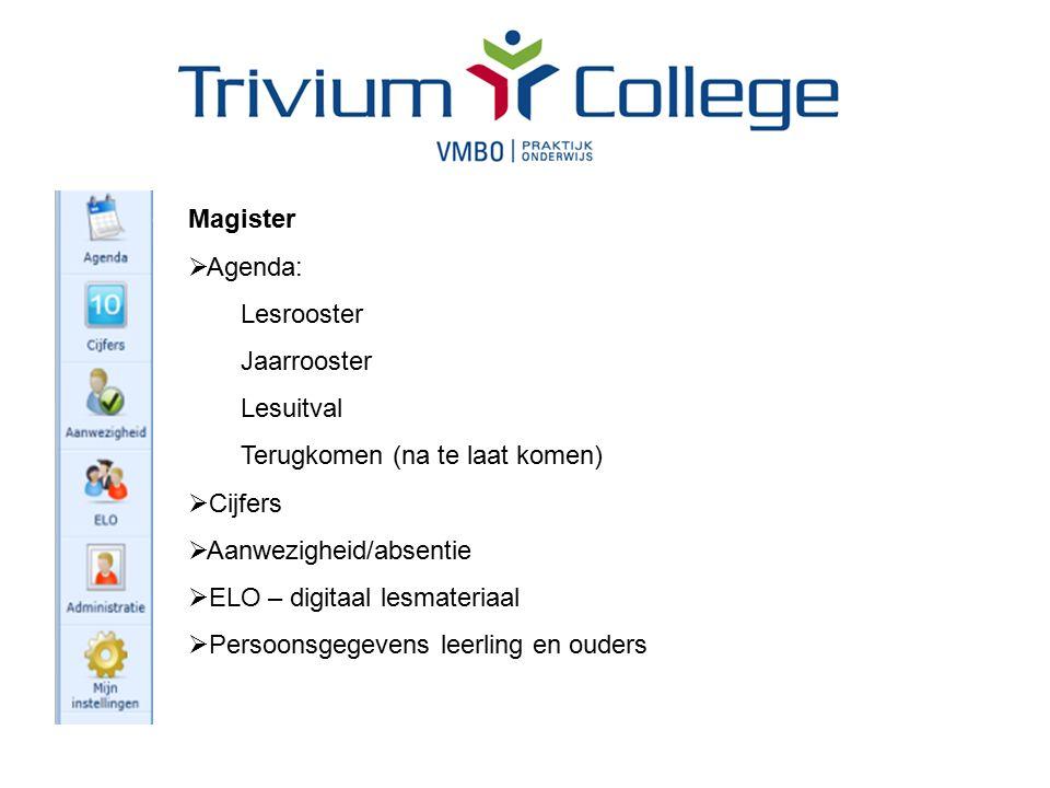 Magister  Agenda: Lesrooster Jaarrooster Lesuitval Terugkomen (na te laat komen)  Cijfers  Aanwezigheid/absentie  ELO – digitaal lesmateriaal  Persoonsgegevens leerling en ouders