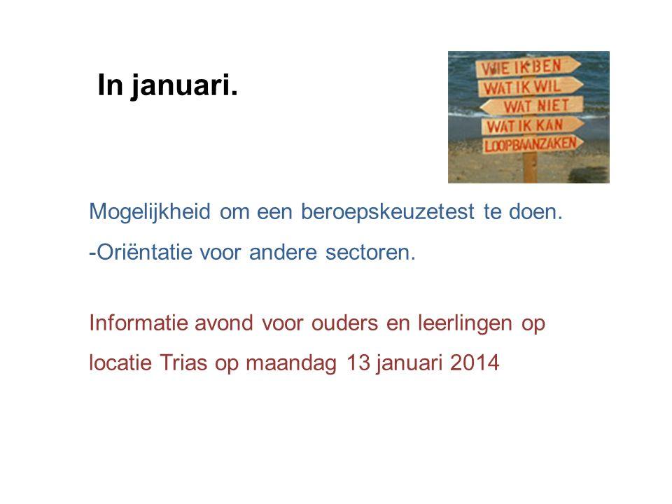 In januari. Mogelijkheid om een beroepskeuzetest te doen.