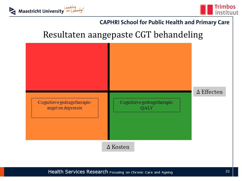 Health Services Research Focusing on Chronic Care and Ageing 22 Δ Effecten Δ Kosten Resultaten aangepaste CGT behandeling Cognitieve gedragstherapie: QALY Cognitieve gedragstherapie: angst en depressie