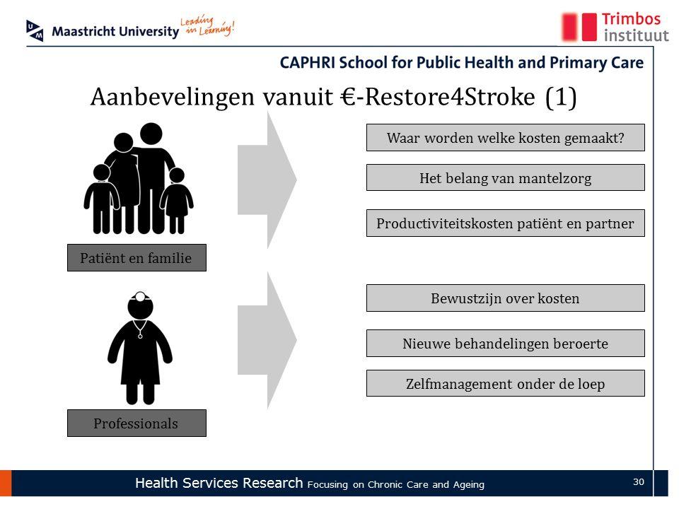 Health Services Research Focusing on Chronic Care and Ageing 30 Aanbevelingen vanuit €-Restore4Stroke (1) Patiënt en familie Professionals Waar worden welke kosten gemaakt.