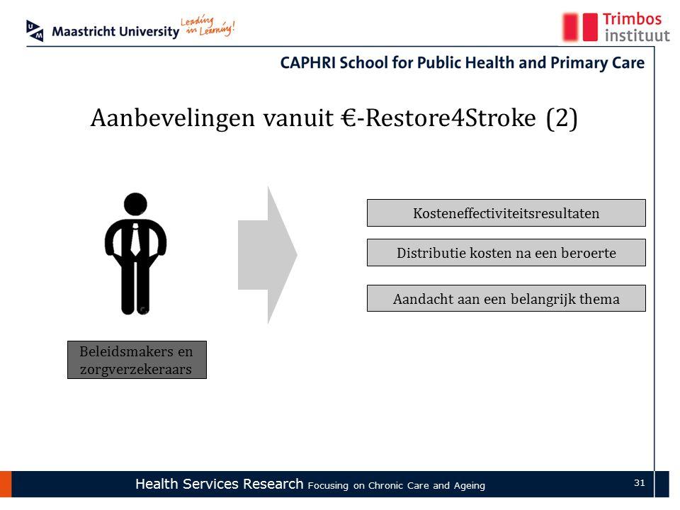 Health Services Research Focusing on Chronic Care and Ageing 31 Aanbevelingen vanuit €-Restore4Stroke (2) Beleidsmakers en zorgverzekeraars Kosteneffectiviteitsresultaten Distributie kosten na een beroerte Aandacht aan een belangrijk thema