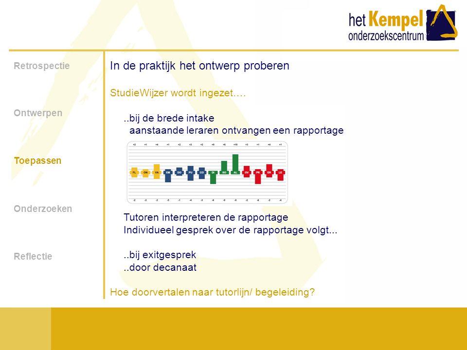 Retrospectie Ontwerpen Toepassen Onderzoeken Reflectie In de praktijk het ontwerp proberen Hoe doorvertalen naar tutorlijn/ begeleiding: Kennisobject