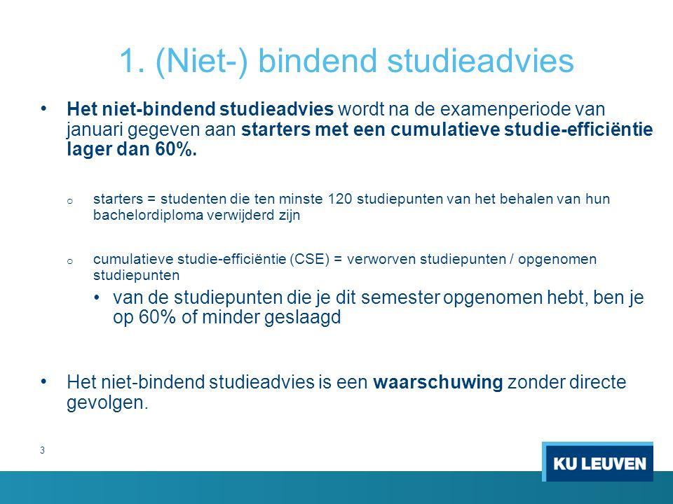 3 1. (Niet-) bindend studieadvies Het niet-bindend studieadvies wordt na de examenperiode van januari gegeven aan starters met een cumulatieve studie-