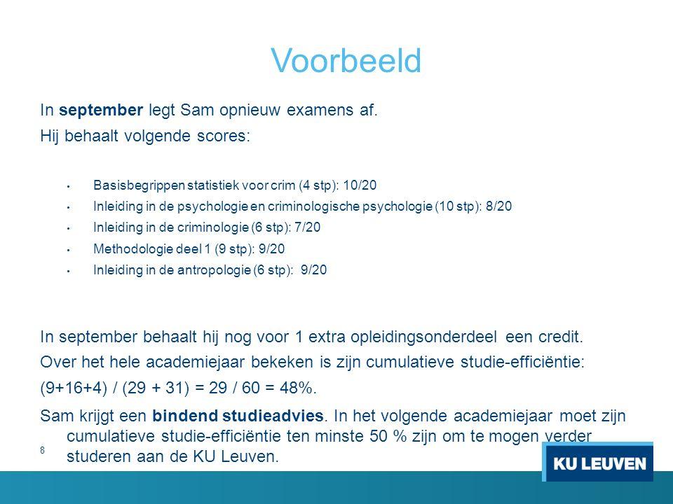 8 Voorbeeld In september legt Sam opnieuw examens af.