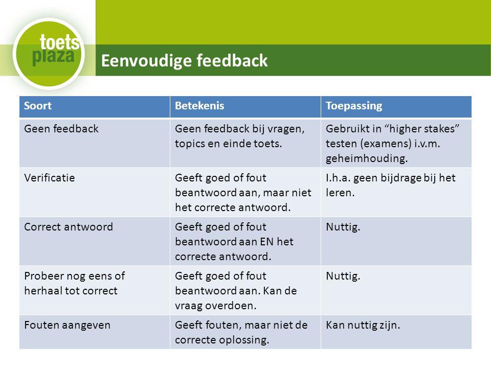Eenvoudige feedback SoortBetekenisToepassing Geen feedbackGeen feedback bij vragen, topics en einde toets.