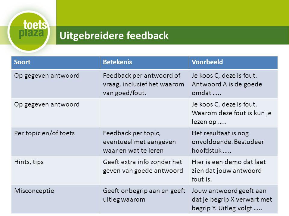 Uitgebreidere feedback SoortBetekenisVoorbeeld Op gegeven antwoordFeedback per antwoord of vraag, inclusief het waarom van goed/fout.