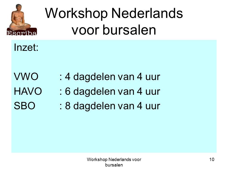 Workshop Nederlands voor bursalen 10 Workshop Nederlands voor bursalen Inzet: VWO: 4 dagdelen van 4 uur HAVO: 6 dagdelen van 4 uur SBO: 8 dagdelen van 4 uur