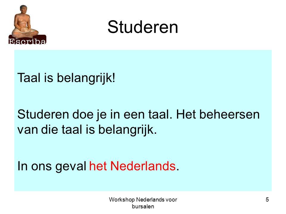 Workshop Nederlands voor bursalen 5 Studeren Taal is belangrijk.