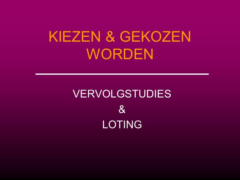 KIEZEN & GEKOZEN WORDEN VERVOLGSTUDIES & LOTING