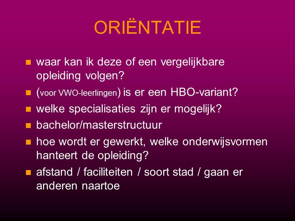 ACTIEF KIEZEN Handige sites voor een eerste oriëntatie: – –www.schoolweb.nlwww.schoolweb.nl – –www.digischool.nl (knop 'decaan')www.digischool.nl – –www.studiekeuze123.nlwww.studiekeuze123.nl Bezoek of regel zelf een meeloopdag waar je studenten spreekt Doe mee aan (online) proefstudeermodules (ook handig voor je profielwerkstuk!) – –www.rug.nl/scholieren (knop 'proefstuderen'), www.uva.nl/webklassen, www.aansluitingsmodulen.leidenuniv.nl, www.proefstuderen.eur.nl, www.uvt.nl/digitaalproefstuderenwww.rug.nl/scholieren www.uva.nl/webklassen www.aansluitingsmodulen.leidenuniv.nl www.proefstuderen.eur.nlwww.uvt.nl/digitaalproefstuderen – –LOB-modulen (www.windesheim.nl knop 'onderwijs' dan 'scholieren')www.windesheim.nl – –Cursus oriëntatie op studiekeuze (www.hanze.nl vóór 12-11)www.hanze.nl