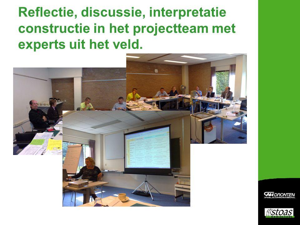 Reflectie, discussie, interpretatie constructie in het projectteam met experts uit het veld.