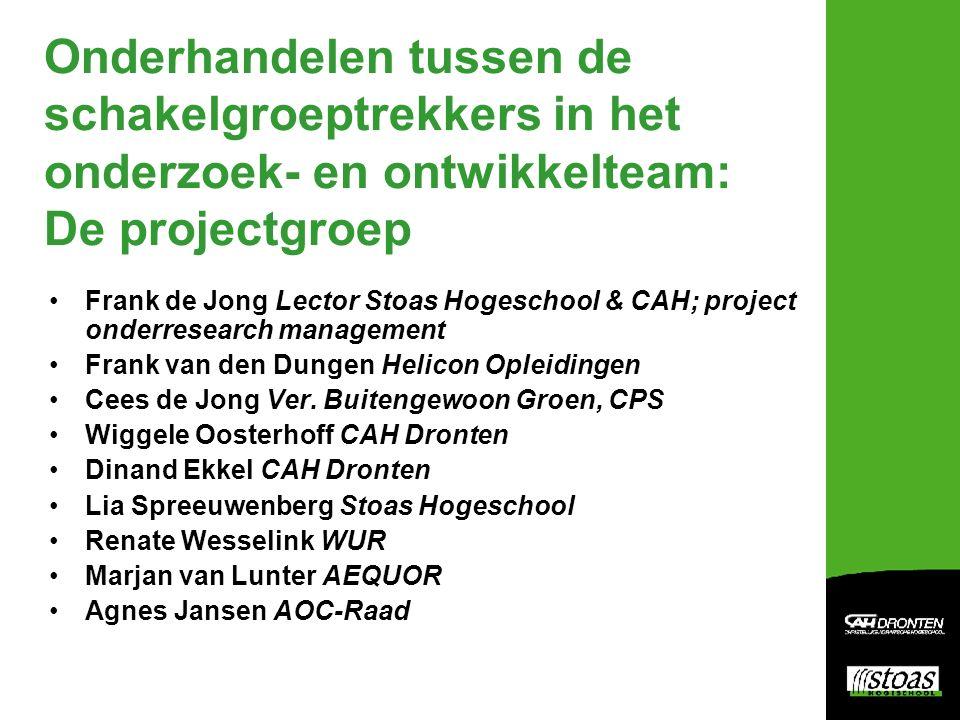 Onderhandelen tussen de schakelgroeptrekkers in het onderzoek- en ontwikkelteam: De projectgroep Frank de Jong Lector Stoas Hogeschool & CAH; project onderresearch management Frank van den Dungen Helicon Opleidingen Cees de Jong Ver.