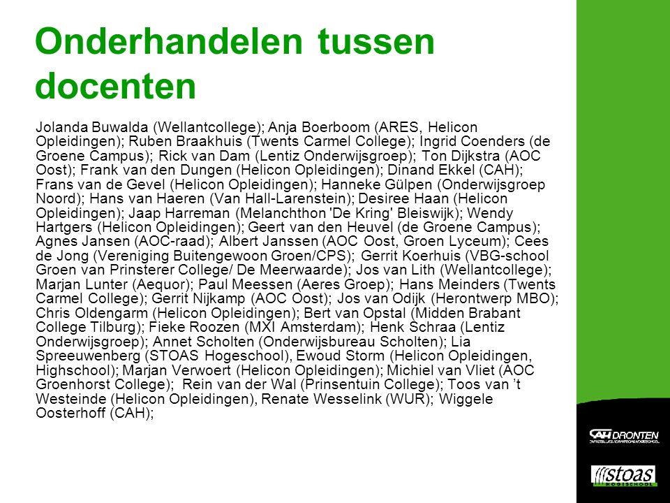 Onderhandelen tussen docenten Jolanda Buwalda (Wellantcollege); Anja Boerboom (ARES, Helicon Opleidingen); Ruben Braakhuis (Twents Carmel College); In