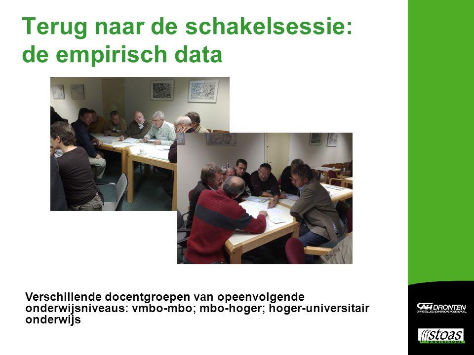Terug naar de schakelsessie: de empirisch data Verschillende docentgroepen van opeenvolgende onderwijsniveaus: vmbo-mbo; mbo-hoger; hoger-universitair onderwijs