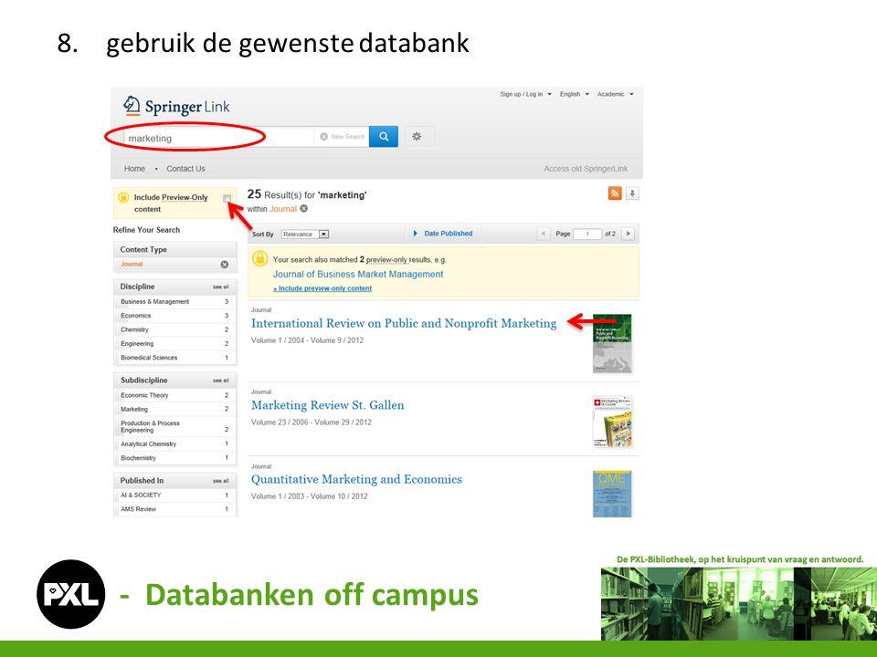 - Databanken off campus 8.gebruik de gewenste databank
