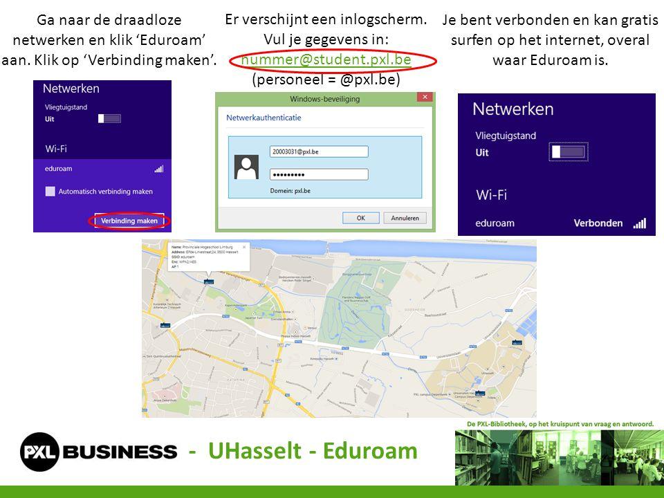 Ga naar de draadloze netwerken en klik 'Eduroam' aan. Klik op 'Verbinding maken'. Er verschijnt een inlogscherm. Vul je gegevens in: nummer@student.px