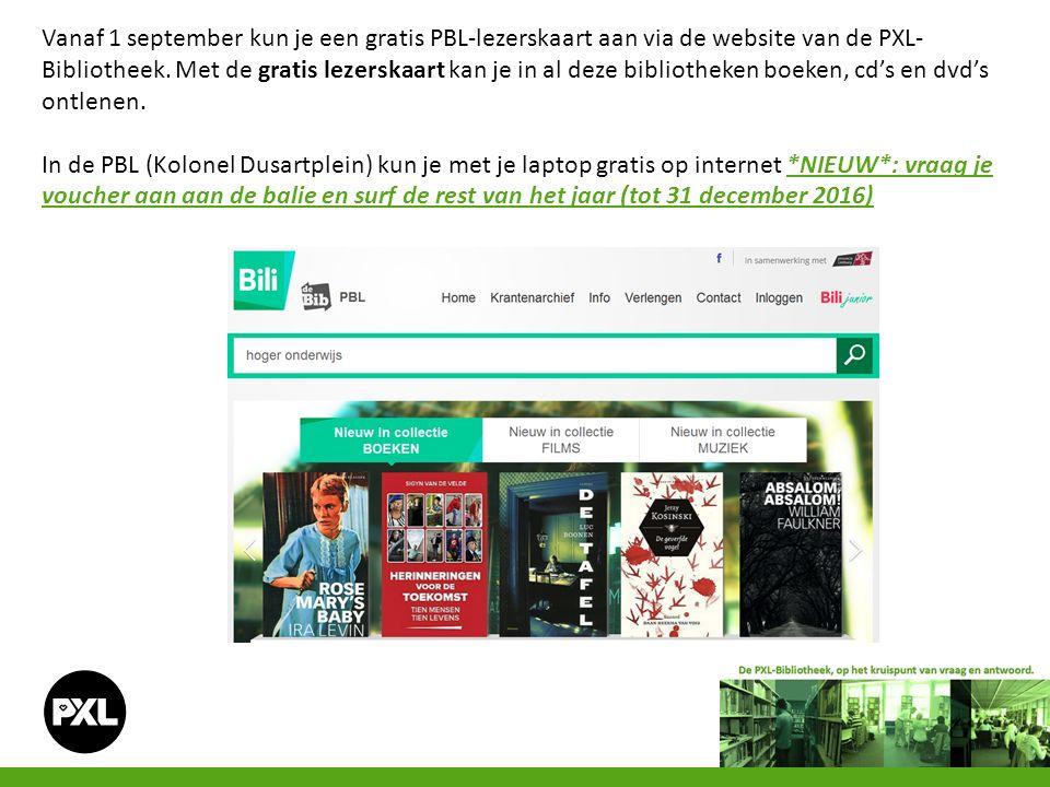 Vanaf 1 september kun je een gratis PBL-lezerskaart aan via de website van de PXL- Bibliotheek. Met de gratis lezerskaart kan je in al deze bibliothek